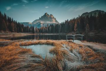 Zelfklevend Fotobehang Diepbruine Morning view of Lago Antorno, Dolomites, Lake mountain landscape with Alps peak , Misurina, Cortina d'Ampezzo, Italy
