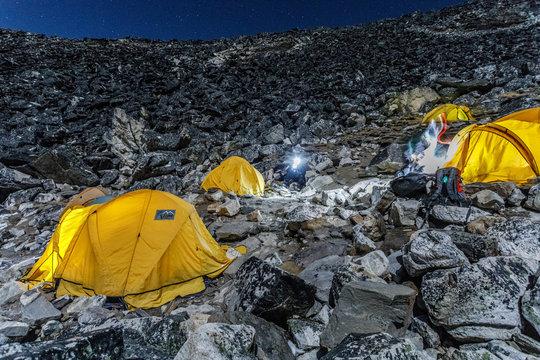 Advanced basecamp on Island Peak on Himalayan mountain range