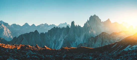 Poster Green blue Dolomites Alps rocky mountain range at Tre Cime Di Lavaredo