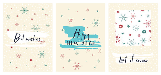 Set of creative holiday cards with hand drawn lettering. Happy new year. Best wishes. Let it snow. Vector template for invitations, greeting scrapbooking and congratulations.