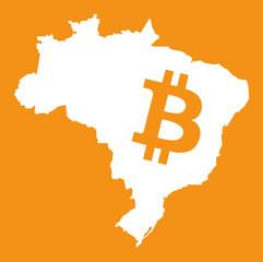 Brazil map with bitcoin symbol illustration