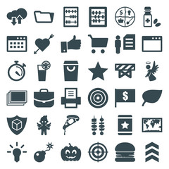 Set of 36 thin filled icons