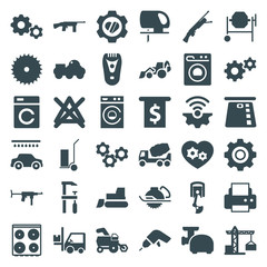 Set of 36 machine filled icons