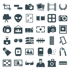 Set of 36 frame filled icons