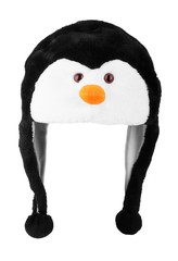 Fur hat in the shape of a penguin on a white background