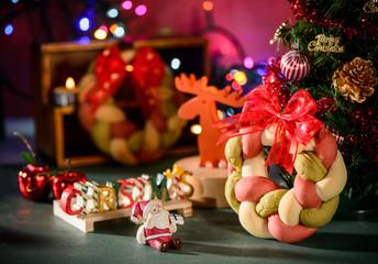 Christmas wreath bread with christmas tree ,Santa Claus,Christmas   text decoration