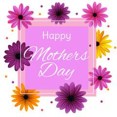 Mothers Day. Flowers. Frame. Holidays. Floral background. Border. Vector illustration. Card. Invitation.
