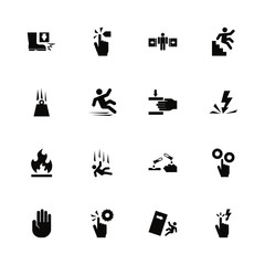Warning Signs icons - Expand to any size - Change to any colour. Flat Vector Icons - Black Illustration on White Background.