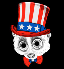 A  lemur in old American hat with a flag. National Symbols of the USA. Vector illustration