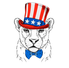 A smiling leopard  in old American hat with a flag. National Symbols of the USA. Vector illustration