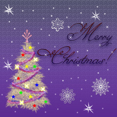 greeting card with christmas on a lilac background