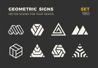Set of eight minimalistic trendy shapes. Stylish vector logo emblems for Your design. Simple universal geometric signs collection.