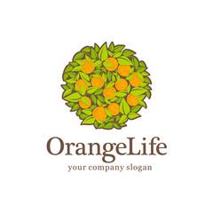 Organic emblem. Vector logo design. Orange Life. Orange juice