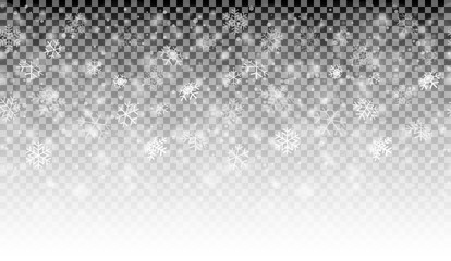 snow fall background with vector transparency