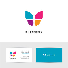 Colorful butterfly logo.
