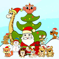 Santa Claus, snowman and happy animals next to the Christmas tree