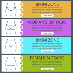 Female body parts web banner templates set