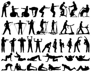 Vector silhouettes collection of active senior people doing fitness exercises