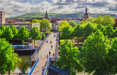 Saarland Saarbrücken Blick über die Alte Brücke und auf die Altstadt mit Basilika Sankt Johann und die Alte evangelische Kirche - Sarrebruck vue sur le vieux pont  Fototapete
