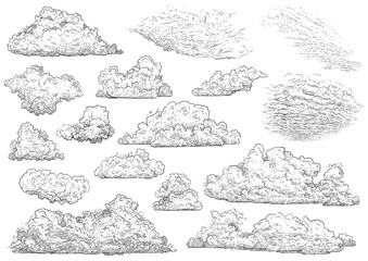 Vintage Cloud Engraving stock photos and royalty-free images