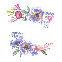 Hand-drawn watercolor floral background. Summer blossom. Floral template for greeting card, wedding invitation, advertisiment, banner, poster, flyer.
