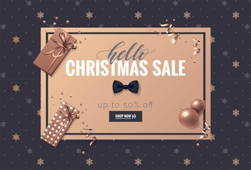 Hello christmas sale poster. Beautiful holiday background with snowflakes and decorations. Voucher discount. Vector illustration