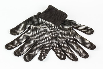 Black work gloves, mittens on a white background