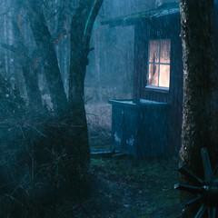 Small hut in rain