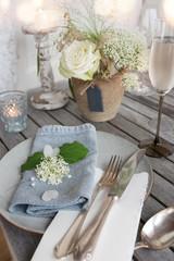 Festive table decoration for a romantic dinner