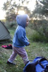 Boy (2 years) near a tent, Haide, Ummanz, Island of Ruegen, Mecklenburg-Western Pomerania, Germany