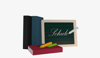 Schiefertafel mit dem Text Schule in deutsch, Büchern und bunter Kreide