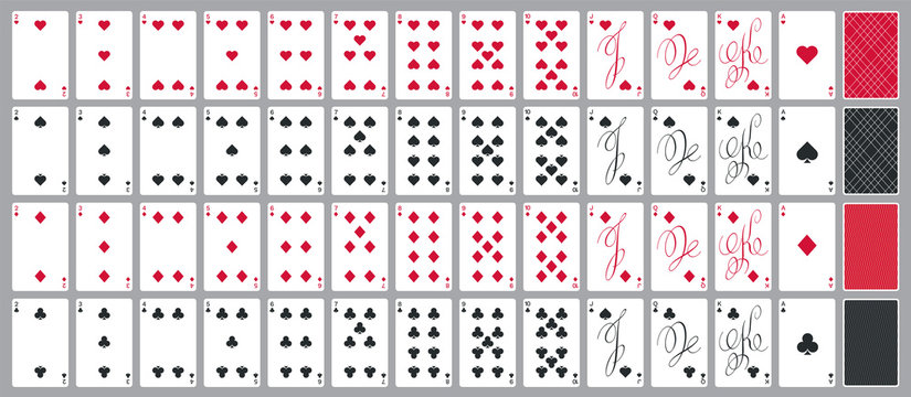 Simple poker cards full set in modern calligraphic design, four suits