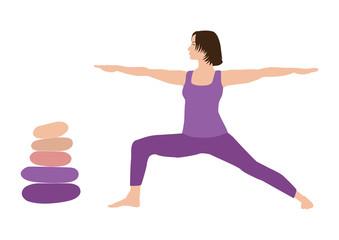 Meditation, harmony and balance, woman with short brown hair practicing yoga, Virabhadrasana warrior pose, stone cairn with five pebbles