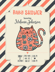 baby shower card template with fat doodle cat