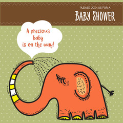baby shower card template with funny doodle elephant