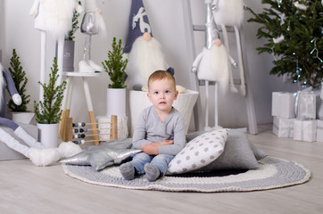 New Year in Scandinavian style, Mom with a child, children's toys