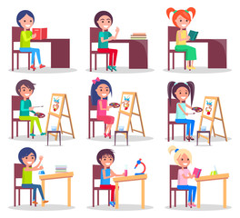 Children Do Homework Isolated Illustrations Set