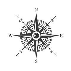 Wind Rose Compass on White Background. Vector