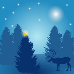 christmas tree with star and reindeer at night