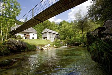 Swing bridge over a river, Alpe-Adria-Trail, Trenta,  Slovenia