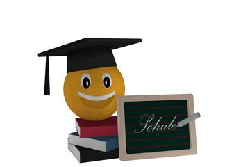 Schiefertafel mit dem Text Schule in deutsch, einem Bücherstapel und einem Emoticon mit Highshool-Hut