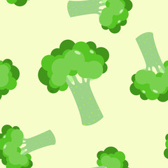 Cute seamless pattern with green broccoli. Vector modern flat style  illustration. Eating healthy food, vegan food, vegetable concept design.