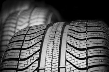 car tires profile on a black background