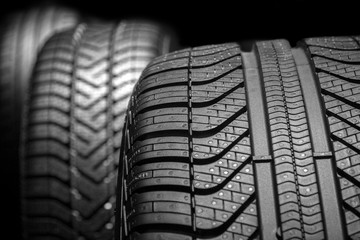car tyres profile on a black background