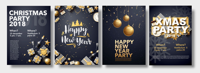 happy new year 2018 gold and black collors place for text chris