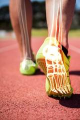 Highlighted foot bones of jogging man