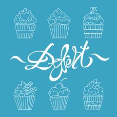 cupcakes outline dessert