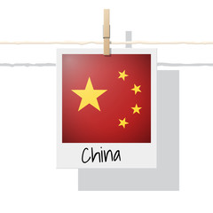 Asian country flag collection with photo of China flag on white background , vector , illustration