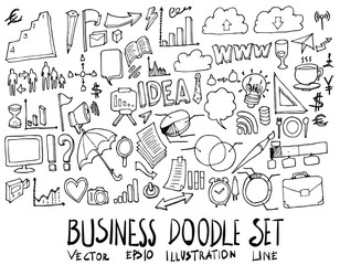 Set of Business illustration Hand drawn doodle Sketch line vector eps10