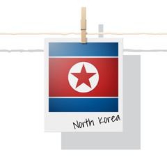 Asian country flag collection with photo of North Korea flag on white background , vector , illustration